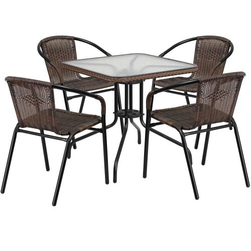 28'' Square Glass Metal Table with Dark Brown Rattan Edging and 4 Dark Brown Rattan Stack Chairs