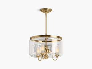 Modern Brushed Gold Three-light Chandelier Product Image