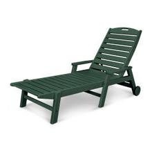 View Product - Nautical Chaise with Arms & Wheels in Green