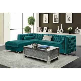See Details - Bellaire Contemporary Teal and Chrome Sectional