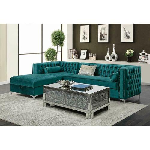 Coaster - Bellaire Contemporary Teal and Chrome Sectional