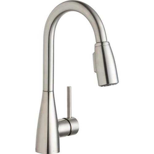 Elkay - Elkay Avado Single Hole Bar Faucet with Pull-down Spray and Forward Only Lever Handle Lustrous Steel