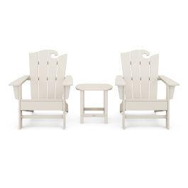 Polywood Furnishings - Wave 3-Piece Adirondack Set with The Ocean Chair in Sand