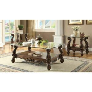 Acme Furniture Inc - ACME Versailles Coffee Table - 82100 - Cherry Oak & Clear Glass