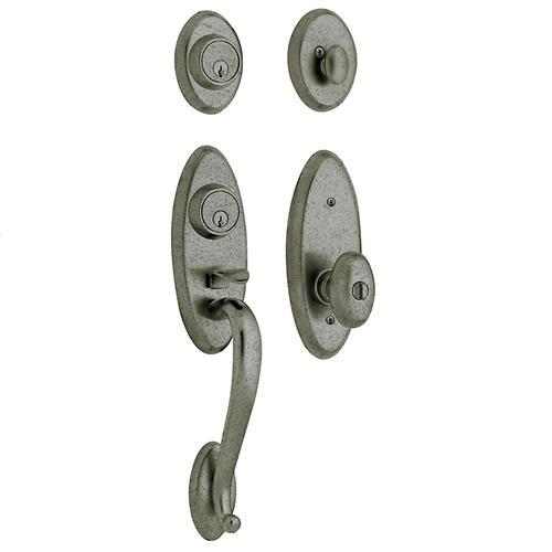 Baldwin - Distressed Antique Nickel Landon Two-Point Lock Handleset