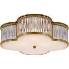 View Product - Alexa Hampton Basil 3 Light 17 inch Natural Brass with Clear Glass Flush Mount Ceiling Light in Natural Brass and Clear Glass