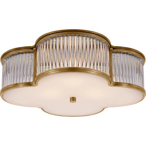 Visual Comfort - Alexa Hampton Basil 3 Light 17 inch Natural Brass with Clear Glass Flush Mount Ceiling Light in Natural Brass and Clear Glass