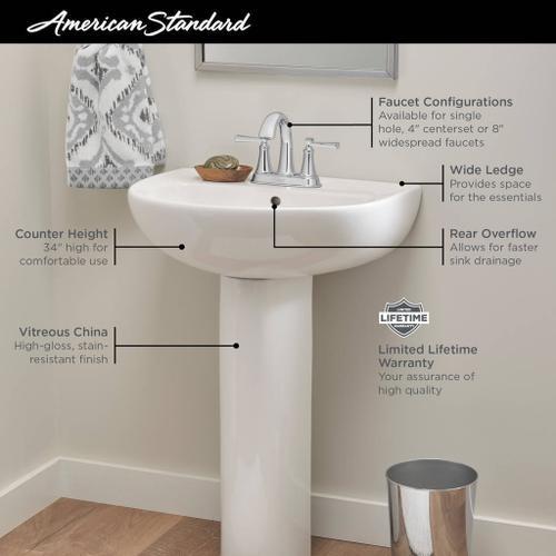 American Standard - Reliant 22-in. Pedestal Sink, 4-in. Centerset Holes  American Standard - White