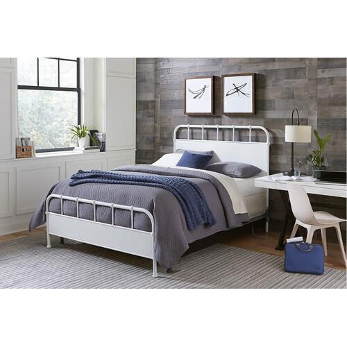 Grayson Queen Metal Bed, Textured White