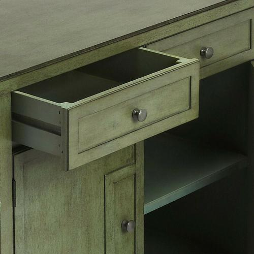 Butler Specialty Company - This stylish console cabinet combines Modern minimalism with Eastern design elements. Featuring clean lines and a green finish reminiscent of a Japanese Zen garden, its inner storage cabinet and two drawers make it a great addition in an entryway, hallway or living room. Crafted from bayur wood solids and wood products with nickel finished hardware.