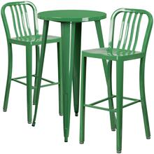 24'' Round Green Metal Indoor-Outdoor Bar Table Set with 2 Vertical Slat Back Stools