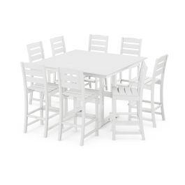 Polywood Furnishings - Lakeside 9-Piece Bar Side Chair Set in White