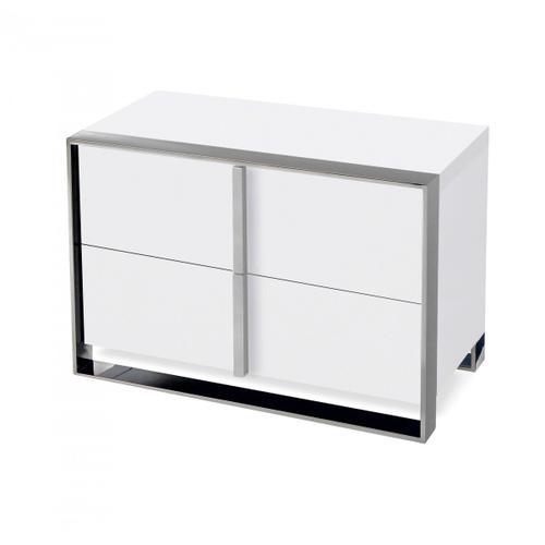 VIG Furniture - Nova Domus Francois - Modern White & Stainless Steel Nightstand