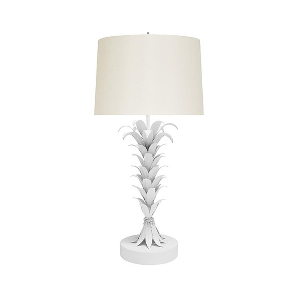 With A Design as Dramatic as Its Namesake Island Landscape, Our Capri Lamp Is A Perfect Complement To Your Luxe Coastal Style. an Array of White Powder Coated Palm Leaves Climbs the Base and Topped With A Crisp White Shade.