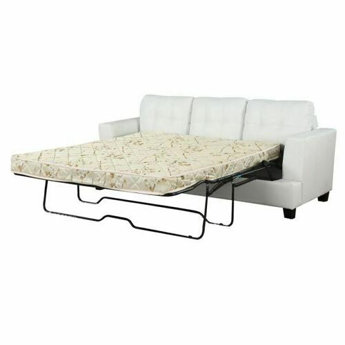 ACME Platinum Sofa w/Queen Sleeper - 15062 - White Bonded Leather