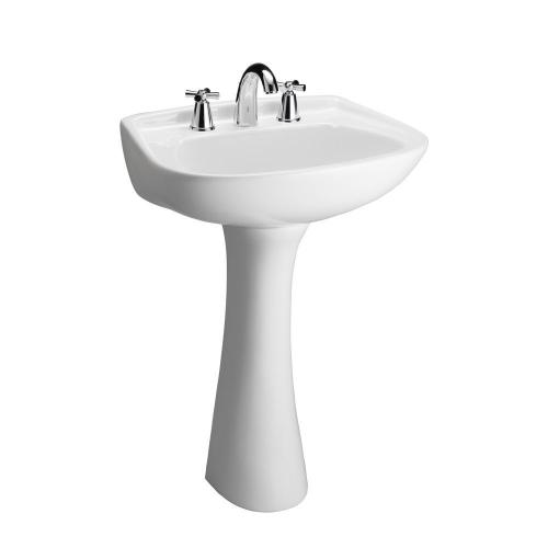 "Hartford Pedestal Lavatory, - 8"" Widespread / White"
