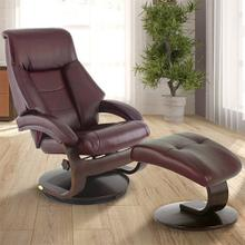 Mandal Recliner & Ottoman in Merlot Top Grain Leather