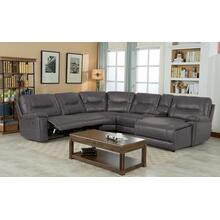 Barrington Right Facing Chaise Leather Gel Sectional in Gray