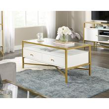 View Product - White Contemporary Glass-Top Coffee Table
