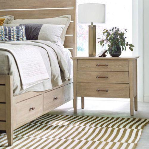 Symmetry Incline King Oak High Bed W/Storage Rails
