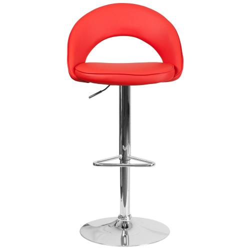 Contemporary Red Vinyl Rounded Back Adjustable Height Barstool with Chrome Base
