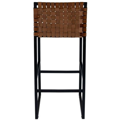 Beautifully constructed with a black iron base, high quality leather and metal nail head accents contribute to the rustic charm of this bar stool.