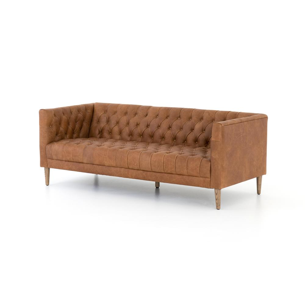 """75"""" Size Natural Washed Camel Cover Williams Leather Sofa"""