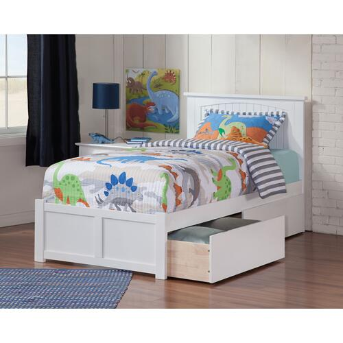 Nantucket Twin Flat Panel Foot Board with 2 Urban Bed Drawers White