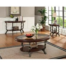See Details - ACME Bavol Coffee Table - 80120 - Cherry - Brown & Clear Glass