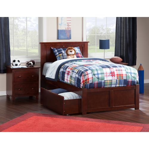 Madison Twin Flat Panel Foot Board with 2 Urban Bed Drawers Walnut