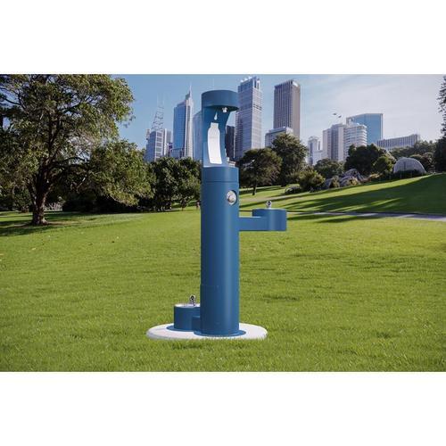 Elkay - Elkay Outdoor EZH2O Bottle Filling Station Bi-Level, Pedestal with Pet Station Non-Filtered Non-Refrigerated Blue