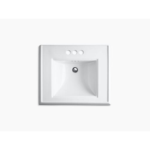 """Biscuit Classic 24"""" Pedestal Bathroom Sink With 4"""" Centerset Faucet Holes"""