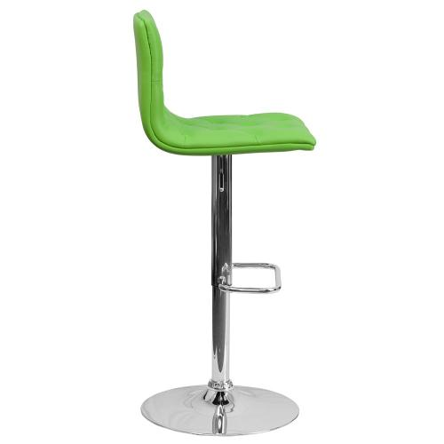 Contemporary Tufted Green Vinyl Adjustable Height Barstool with Chrome Base