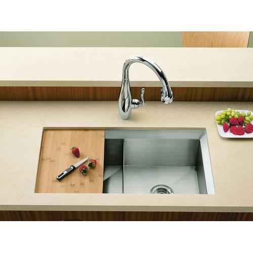 """33"""" X 18"""" X 9-1/2"""" Undermount Double-equal Bowl Kitchen Sink, Includes Cutting Board and Rack"""