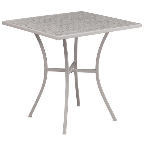 Alamont Furniture - 28'' Square Light Gray Indoor-Outdoor Steel Patio Table
