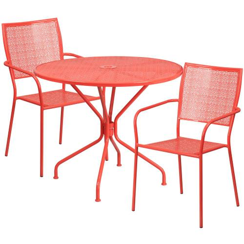 35.25'' Round Coral Indoor-Outdoor Steel Patio Table Set with 2 Square Back Chairs