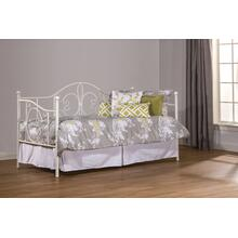 Ruby Metal Twin Daybed With Roll Out Trundle, Textured White