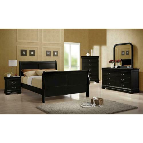 Coaster - Louis Philippe Traditional Black Sleigh Queen Bed