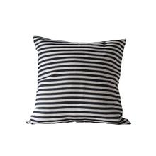 """See Details - 26"""" Square Cotton Woven Striped Pillow, Black"""