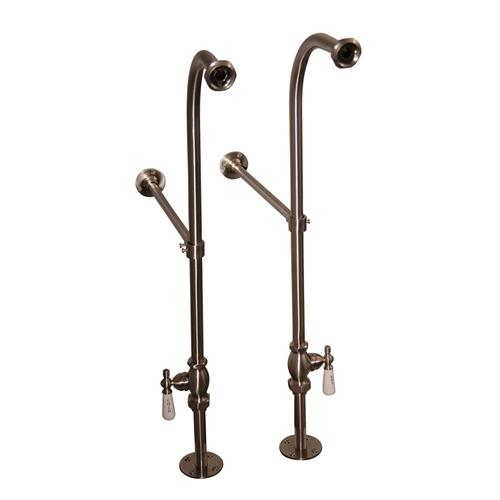 """Columbus 61"""" Cast Iron Double Roll Top Tub Kit - Brushed Nickel Accessories"""