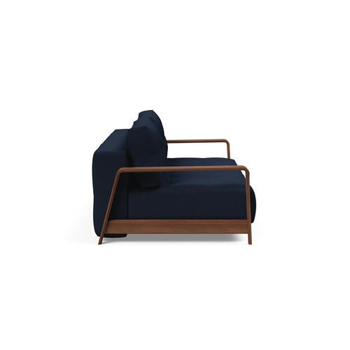 DELUXE EXCESS LOUNGER SEAT/DELUXE EXCESS LOUNGER BACK & CUSHIONS/EXCESS 01 METAL FRAME, MAT BLACK/RAN WALNUT ARM RESTS, DARK WOOD