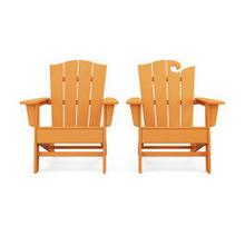 View Product - Wave 2-Piece Adirondack Chair Set with The Crest Chair in Tangerine