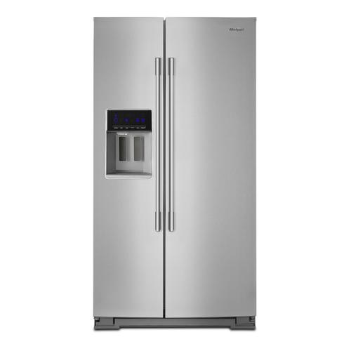 36-inch Wide Contemporary Handle Side-by-Side Refrigerator - 28 cu. ft. Fingerprint Resistant Stainless Steel