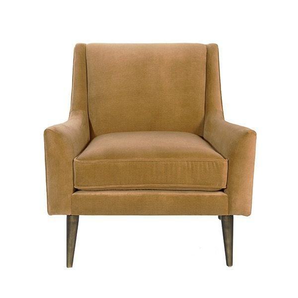 Lounge Chair With Bronze Legs In Camel Velvet
