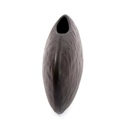 Howard Elliott - Hammered Organic Ebony Aluminum Canoe Vase, Large