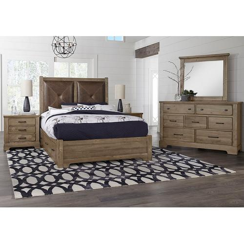 Vaughan-Bassett - King Leather Bed with 2 Side Storage