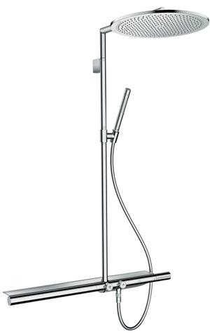 Chrome Showerpipe with thermostat 800 and overhead shower 350 1jet Product Image