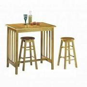 ACME Metro 3Pc Pack Breakfast Set - 02140OT - Oak & Terracotta Tile Top Product Image
