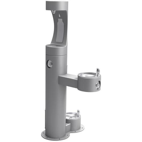 Elkay - Elkay Outdoor EZH2O Bottle Filling Station Bi-Level, Pedestal with Pet Station Non-Filtered Non-Refrigerated Gray