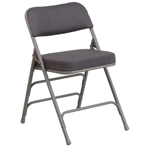 Alamont Furniture - Premium Curved Triple Braced & Quad Hinged Gray Fabric Metal Folding Chair